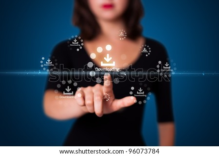 Businesswoman pressing simple start buttons on a virtual background