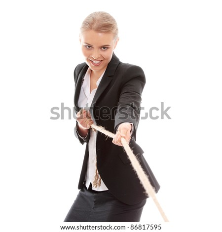 Businesswoman pulling on a piece of rope. Isolated on white