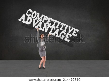 Businesswoman pushing up with hands against buzz words in room