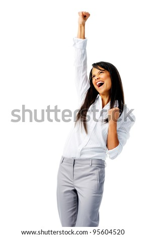 Businesswoman raises one fist in the air in joy, isolated on white