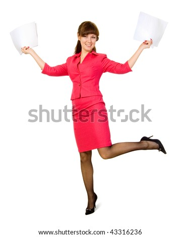 Businesswoman rejoices luck.