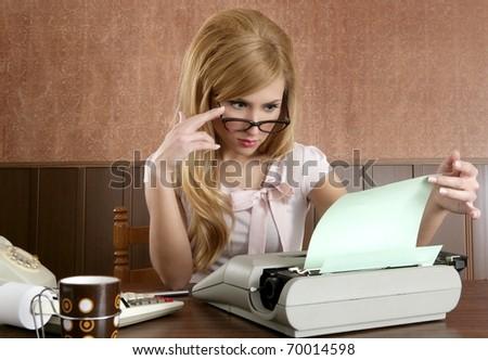 businesswoman retro secretary office vintage glasses typewriter accountant - stock photo