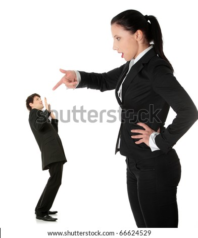 Businesswoman shouting on man, isolated on white background