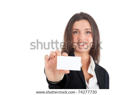 Businesswoman showing a blank greeting card