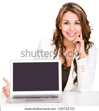 Businesswoman showing a laptop screen - isolated over a white background