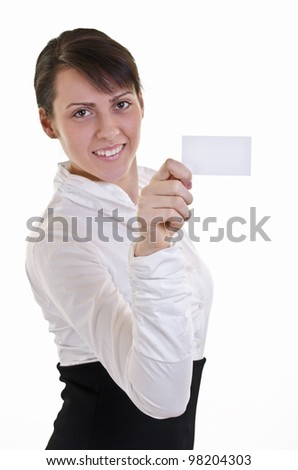 Businesswoman showing and handing a blank business card. Business woman in white shirt, high key, focus on card