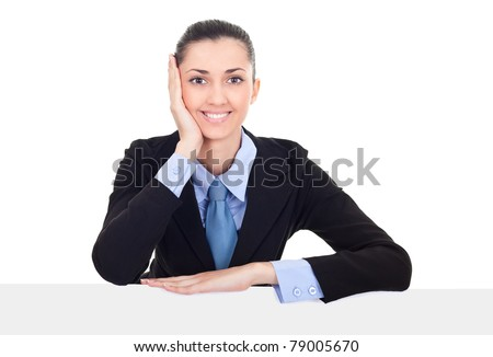 businesswoman showing billboard sign smiling friendly, young beautiful woman behind blank white billboard