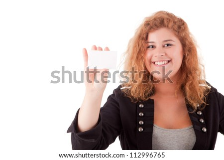 Businesswoman showing greeting card