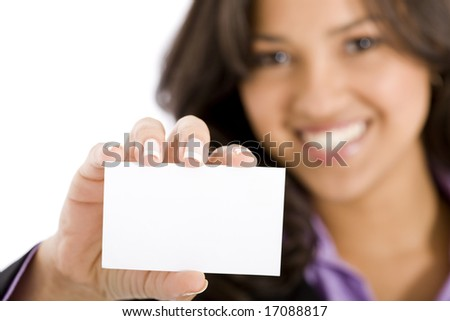 businesswoman showing her business card in an office - stock photo