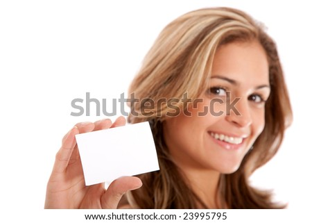 businesswoman showing her business card - isolated over a white background