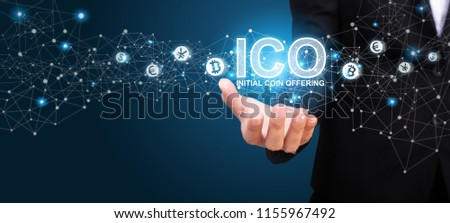 Businesswoman showing ICO, Initial Coin Offering. ICO Initial Coin Offering Business Internet Technology Concept.