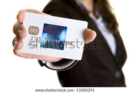 Businesswoman Showing Visa Credit Card - Credit Card Number And Date Are