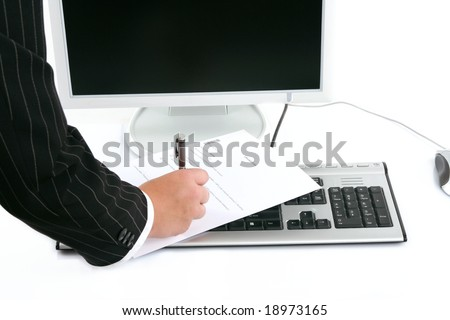 businesswoman signing an form on computer keyboard