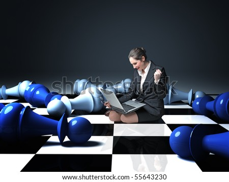 businesswoman sit on chess board win  a game