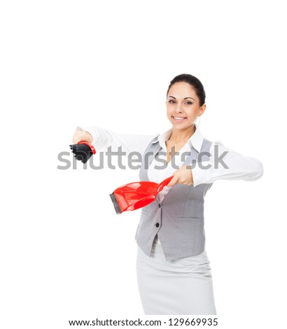Businesswoman smile hold red scoop and broom and dust pan, young attractive business woman concept sweeping up, sweeps in the shovel to side with empty copy space, Isolated over white background