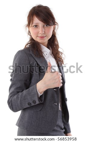 Businesswoman smiling and giving thumbs up for approval isolated on white background
