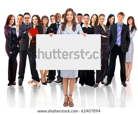 Businesswoman standing and holding a white empty billboard