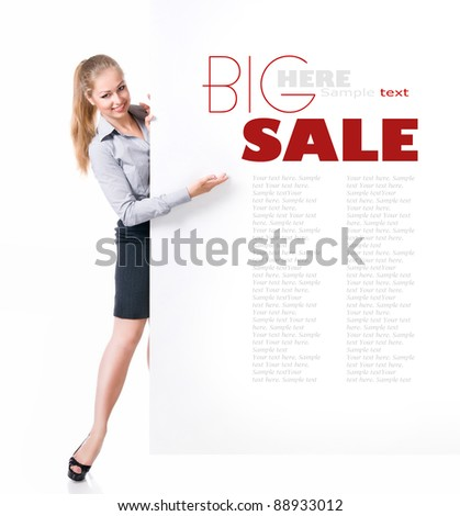 Businesswoman standing behind blank whits billboard. Isolated over white
