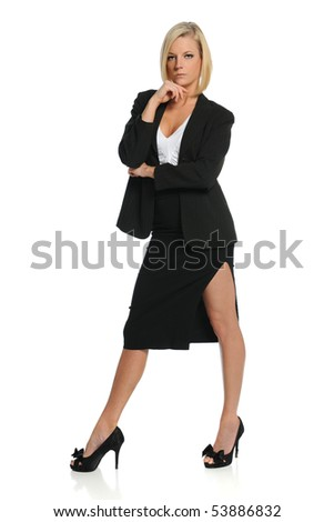 Businesswoman standing over white background