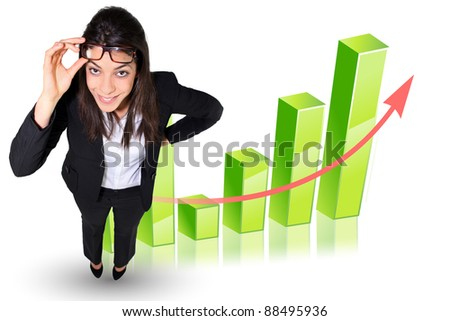 Businesswoman stood by graph