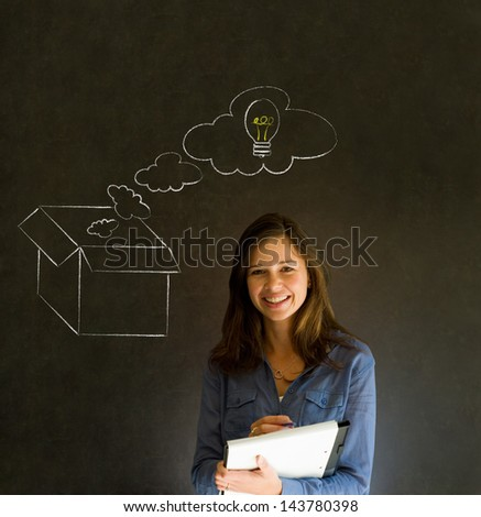 Businesswoman, student or teacher thinking out the box chalk concept blackboard background