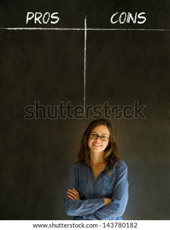Businesswoman, student or teacher thinking pros and cons decision list chalk concept blackboard background