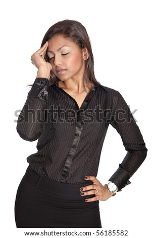 Businesswoman suffering from work related headache