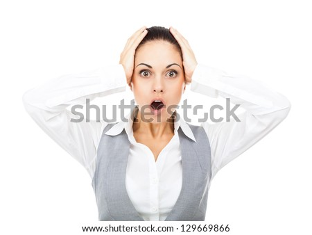 Businesswoman surprised scared, terrified hold hand on head, mouth open, young business woman concept of worried, shock, fear, isolated over white background