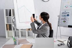 Businesswoman taking photo of flipchart near laptop in office