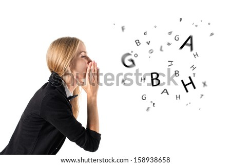 businesswoman talking and letters coming out of her mouth