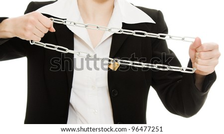 Businesswoman tearing the chain hands on a white background.