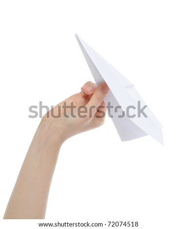 Businesswoman throwing white paper plane. Isolated on white background