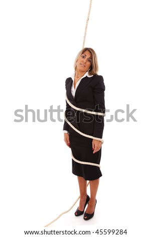 businesswoman tied with a rope (isolated on white)