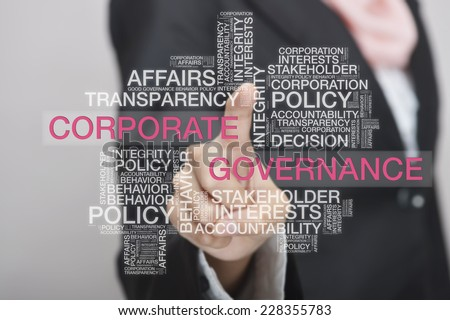 Businesswoman touch screen concept with Corporate Governance wordcloud