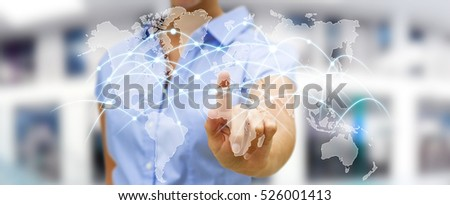 Businesswoman touching global network and data exchanges over the world 3D rendering #526001413