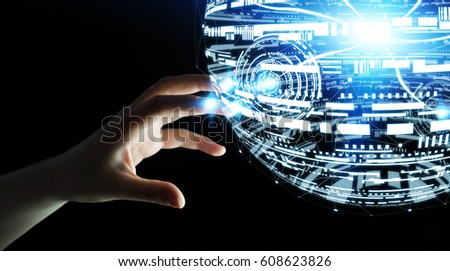 Businesswoman touching white and blue hologram sphere 3D rendering #608623826