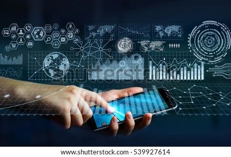 Businesswoman using digital tactile charts screen with his mobile phone 3D rendering