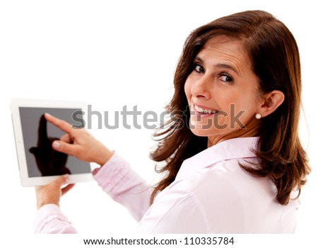 Businesswoman using tablet computer - isolated over a white background