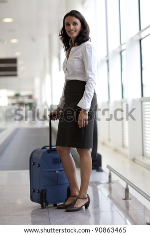 businesswoman waiting at the airport - stock photo