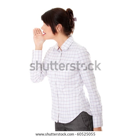 Businesswoman whispering gossip ,isolated on white