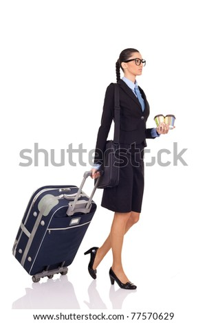 businesswoman with a suitcase and cafe on white background