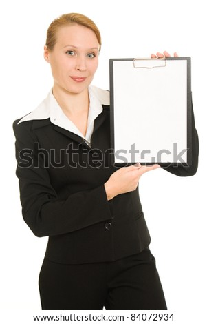 Businesswoman with a white board in his hands.