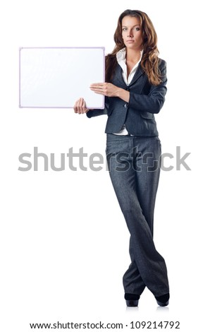 Businesswoman with blank board on white