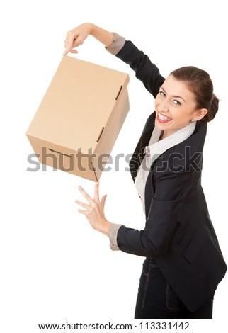businesswoman with cardboard box presenting something, white background