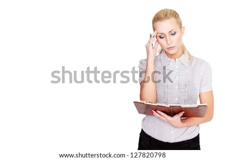 Businesswoman with checklist worry