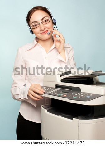 Businesswoman with copier thinking on the  background