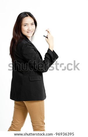 businesswoman with crossed fingers