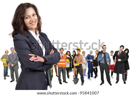 Businesswoman with crowd or group of different people isolated in white
