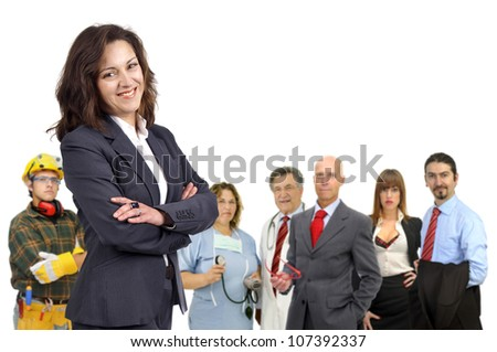 Businesswoman with crowd or group of different people out of focus