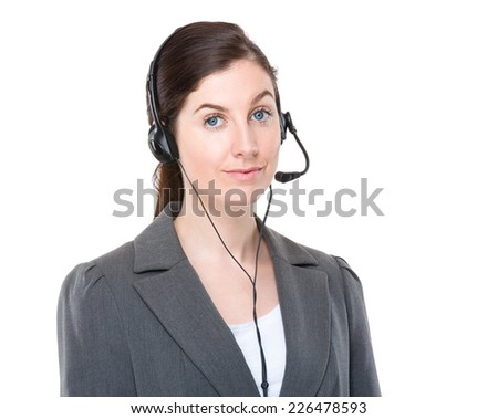 Businesswoman with customer services headset #226478593